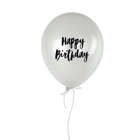 """Шарик надувной """"Happy birthday"""" белый 30 см, фото 2"""