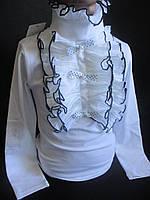 Белые школьные блузы с красивым воротником, фото 1