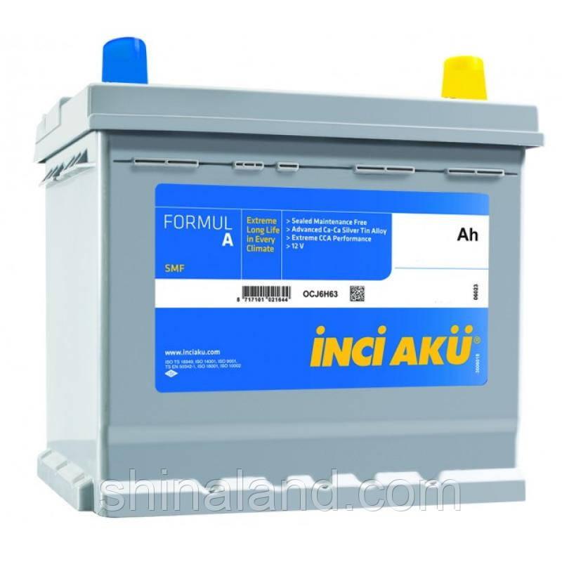 Автомобильный аккумулятор Inci Aku FormulA Asia : 50 Ач, плюс: справа, 12 В, 420 А - (D20 050 042 013), 207x175x220 мм
