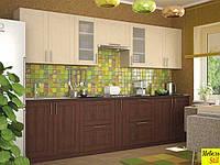 Кухня Квадро 3м с фасадом верх - клен, низ - орех