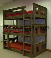 """Ліжко трохярусне """"Валдис"""" з массиву дерева"""