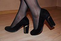 """Туфли черные велюровые """"Дуга""""  код 427"""