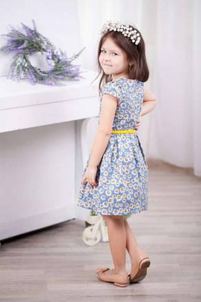 Детское трикотажное летнее платье для девочки в цветочек с поясом в комплекте, фото 3