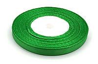 Лента Атласная Зеленая 7 мм, 25 м