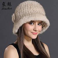 Меховая женская шляпа из вязанной норки белая, фото 1
