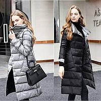 Женский удлиненный двухсторонний зимний пуховик, парка, пальто Double Sided черный с серебром