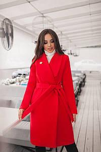 """Женское кашемировое пальто на запах """"DONNA"""" с брошью в комплекте (большие размеры)"""