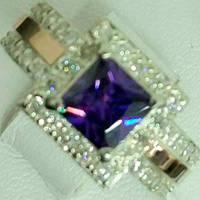 Серебряное кольцо с золотыми накладками с аметистом и фианитами СС-014