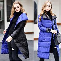 Женский удлиненный двухсторонний зимний пуховик, парка, пальто Double Sided синий с черным