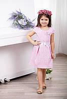 Модное нарядное жаккардовое детское платье для девочки с бантом и атласным пояском