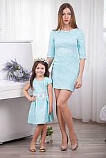 Модное нарядное жаккардовое детское платье для девочки с бантом и атласным пояском, фото 3