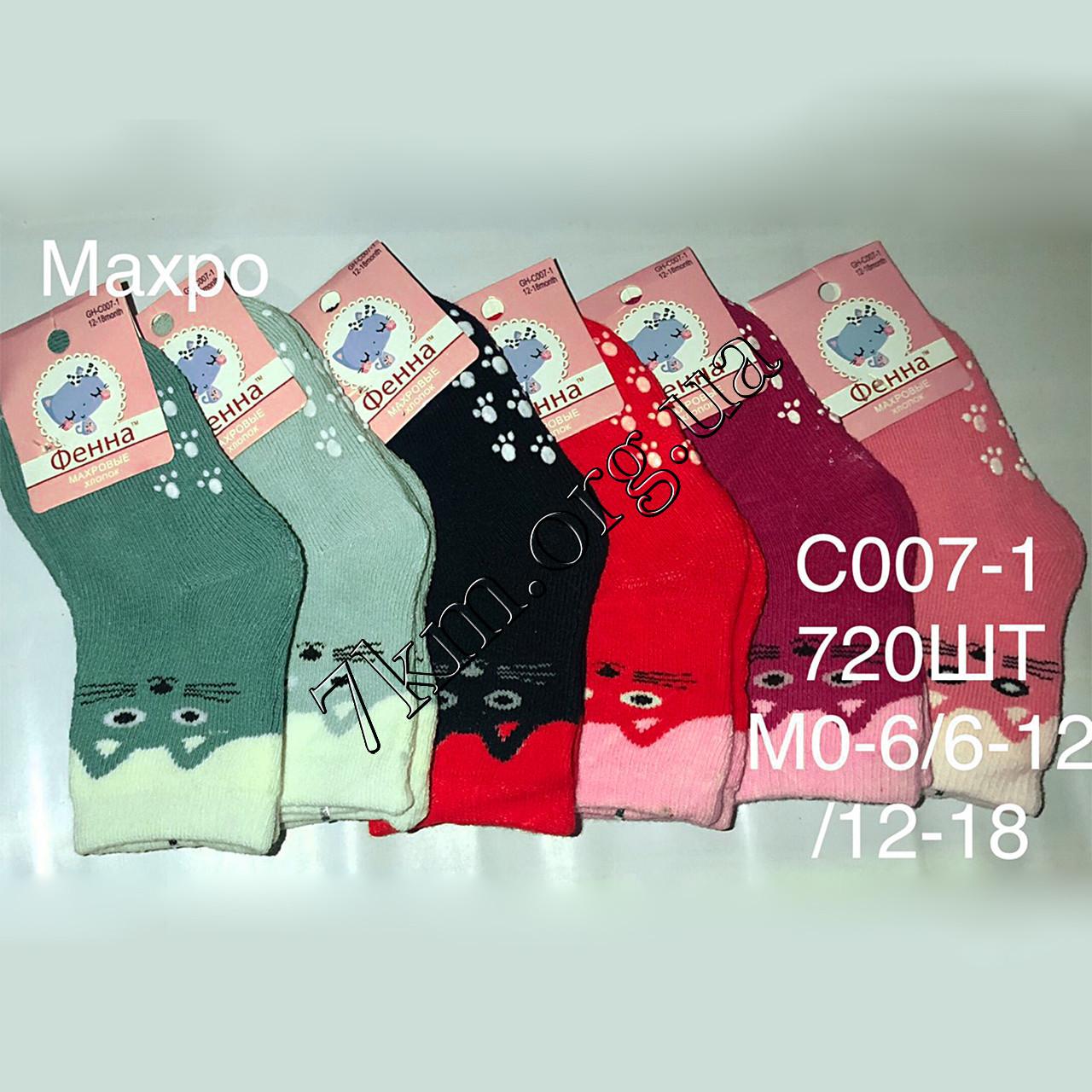Шкарпетки дитячі махрові для дівчаток Фенна 6-12 місяців Оптом C007-1