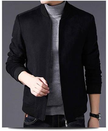 Мужская кашемировая куртка бомбер черная, фото 2