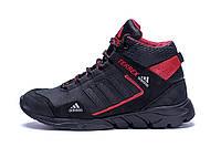Мужские зимние кожаные ботинки Adidas TERREX Black  (реплика)