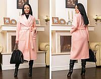 """Женское пальто букле на запах """"Дженн"""" с карманами и поясом (большие размеры)"""