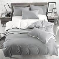 Серо-белое постельное постельное белье. Евро комплект
