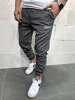 Мужские спортивные штаны брюки в полоску на резике демисезонные тёплые серые с белым