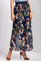 Синяя шифоновая юбка DARA в цветочный принт с широким поясом резинкой