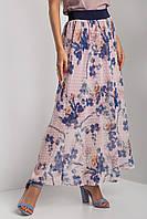 Шифоновая юбка DARA в цветочный принт с широким поясом резинкой