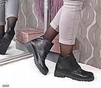 Женские ботинки черные кожаные на низком каблуке зимние на шнуровке