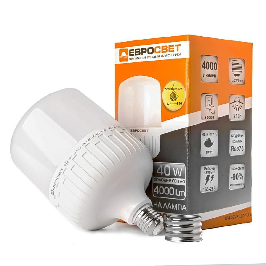 Лампа светодиодная высокомощная ЕВРОСВЕТ 40Вт 6400К EVRO-PL-40-6400-40 Е40