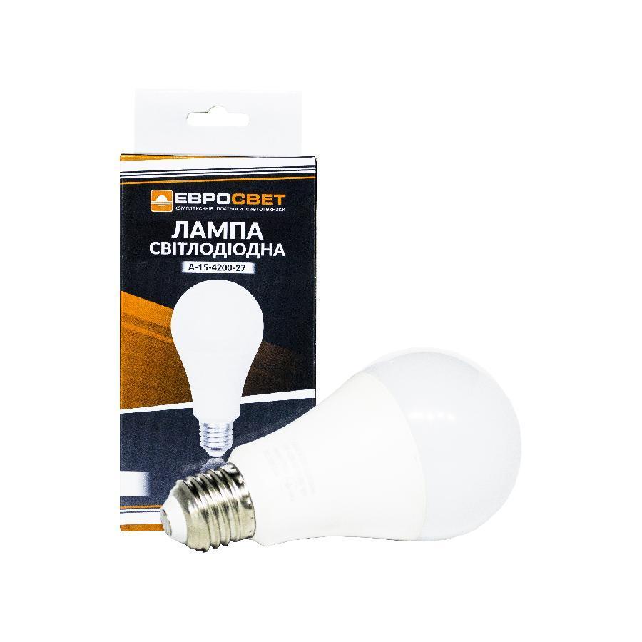 Лампа светодиодная ЕВРОСВЕТ 15Вт 4200К A-15-4200-27 Е27