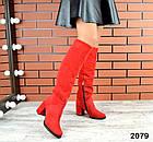 Зимние женские ботфорты красного цвета, натуральная замш, фото 4