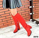 Зимние женские ботфорты красного цвета, натуральная замш, фото 5