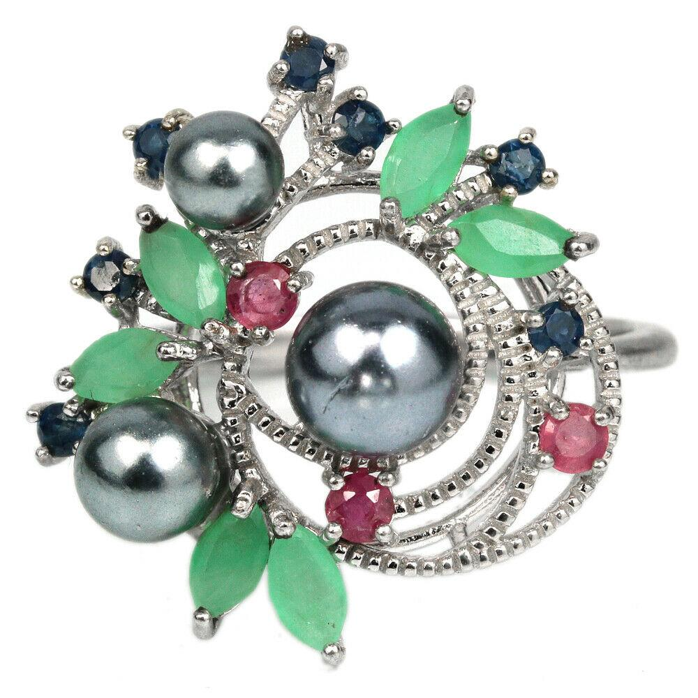 Серебряное кольцо с черным жемчугом, изумрудом, рубином и сапфиром, 2091КЦЖ