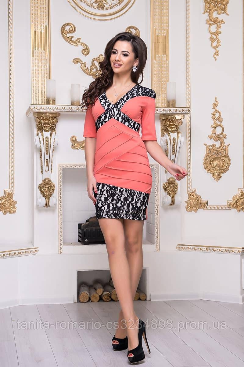 Повседневное платье 3236e Коралловый M(р)