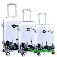 Набор пластиковых чемоданов на колесах (комплект из трех чемоданов) I ✈️ the World, фото 1