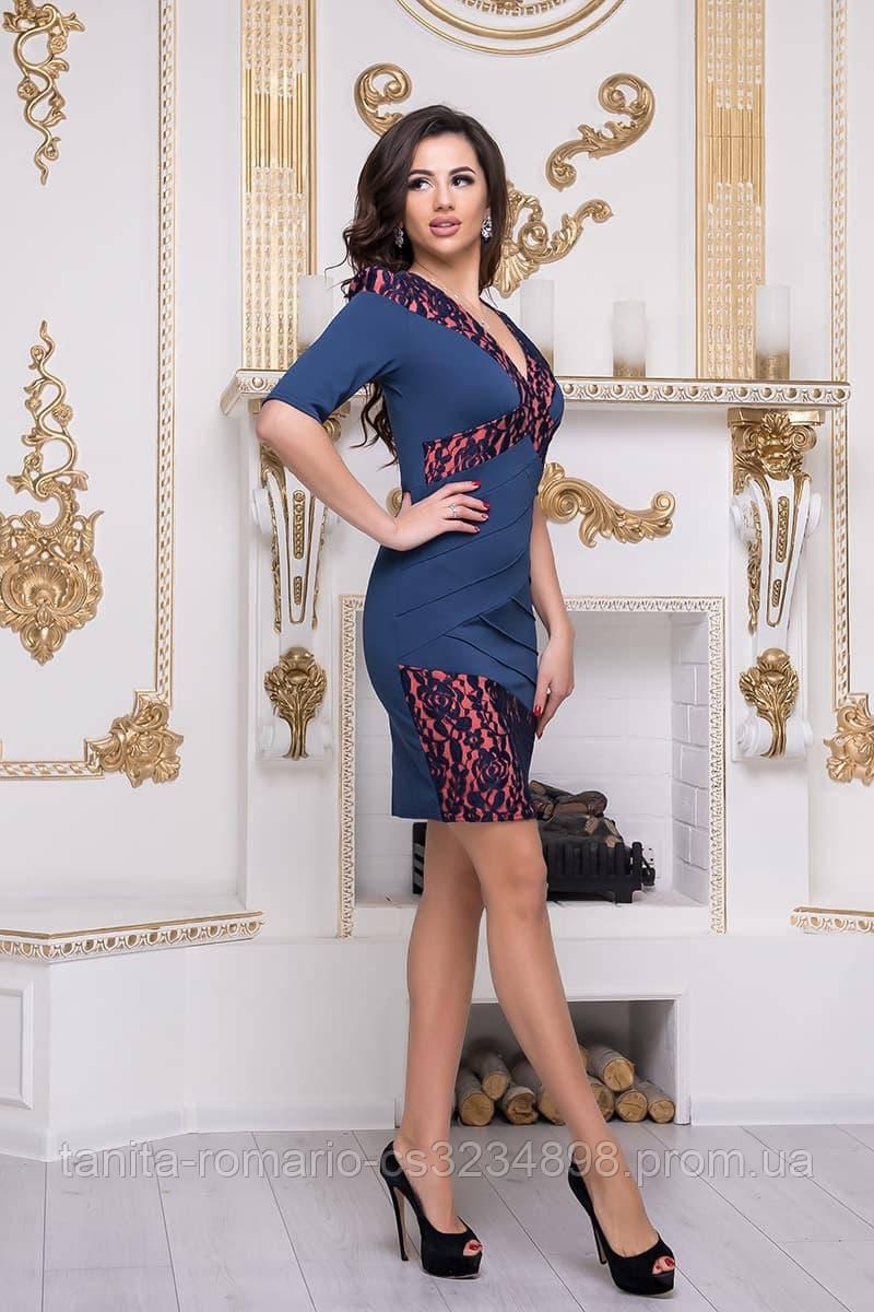 Повседневное платье 3236e Синий/коралловый M(р)