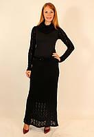 Теплое длинное платье с вязаной юбкой 42-48 р ( черный, красный )