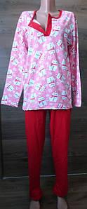 Теплая пижама разных цветов с начесом большого размера 56-62 р