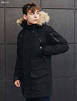 Молодежная черная зимняя парка с мехом стаф / Чоловіча зимова парка Staff voic black HH0123