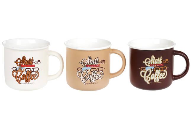 Кружка фарфоровая 380мл Coffee, 3 вида, фарфор, в упаковке 12шт. (930-007), фото 2