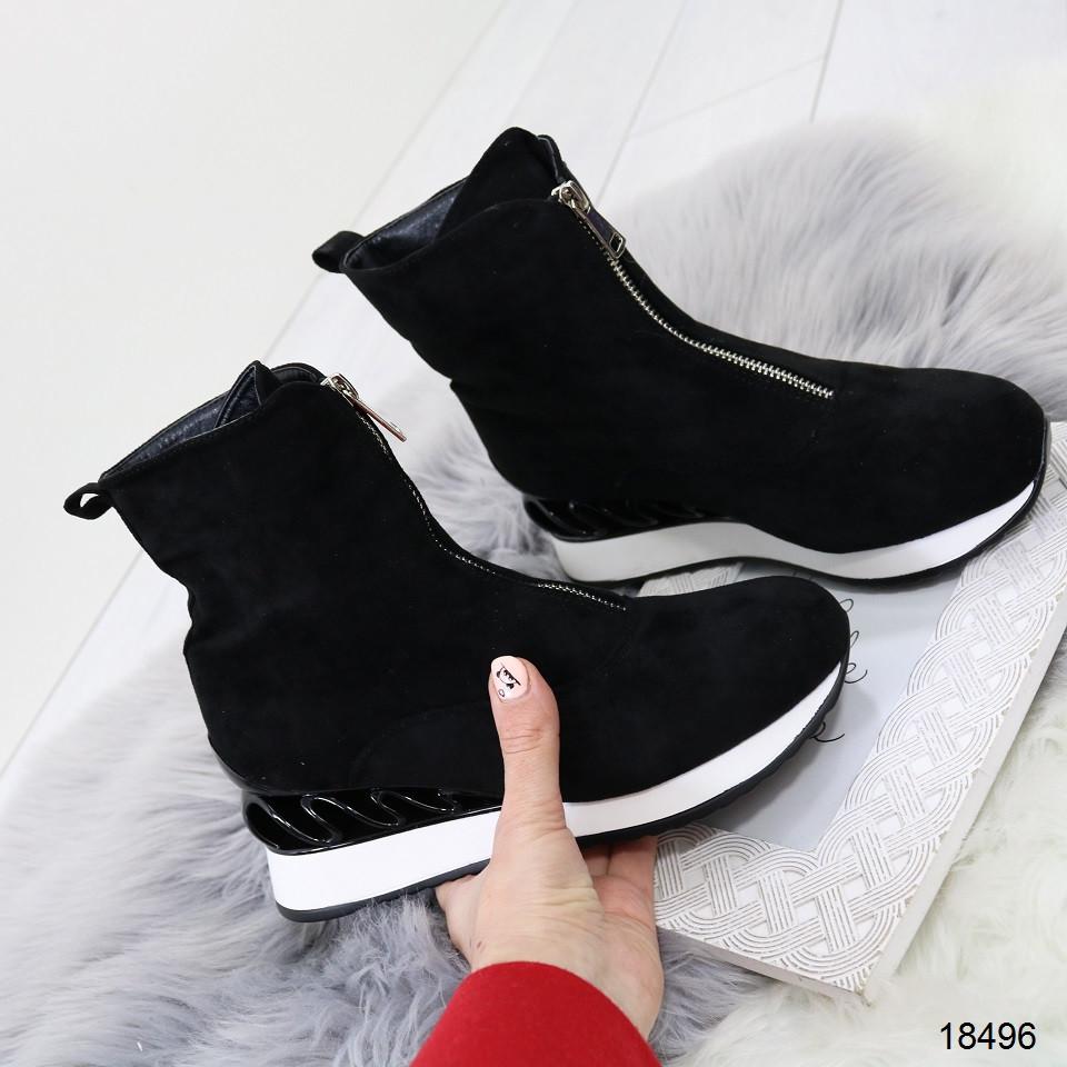 Демисезонные женские ботинки черного цвета, из эко замши 36 37 последние размеры