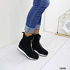 Демисезонные женские ботинки черного цвета, из эко замши 36 37 последние размеры, фото 2
