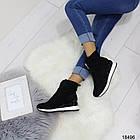 Демисезонные женские ботинки черного цвета, из эко замши 36 37 последние размеры, фото 4
