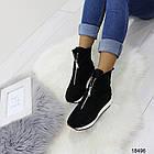 Демисезонные женские ботинки черного цвета, из эко замши 36 37 последние размеры, фото 5