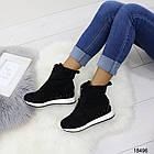 Демисезонные женские ботинки черного цвета, из эко замши 36 37 последние размеры, фото 6