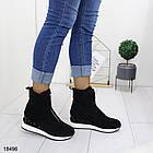 Демисезонные женские ботинки черного цвета, из эко замши 36 37 последние размеры, фото 7