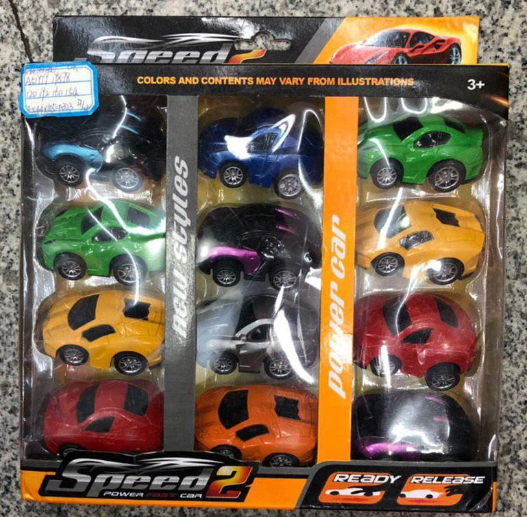 Набор из 12 машинок Speed 2 | Игровой набор детских машинок для трека