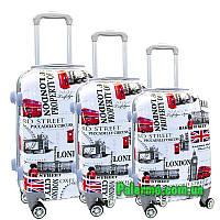 Набор пластиковых чемоданов на колесах (комплект из трех чемоданов) London, фото 1