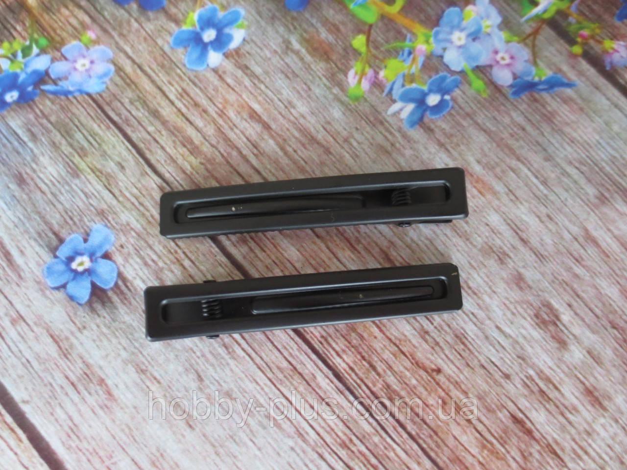Металлическая заколка-крокодил для волос, 6 см, цвет черный с матовым покрытием