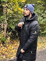 Куртка зимняя мужская удлиненная парка теплая с капюшоном черная. Живое фото