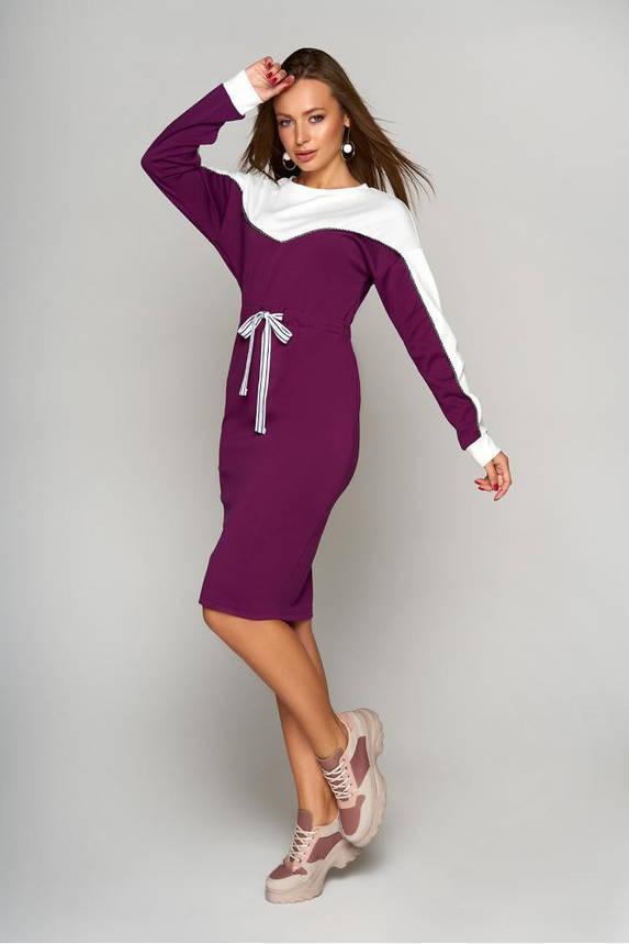 Теплое осеннее платье из шерстяного трикотажа бордовое, фото 2