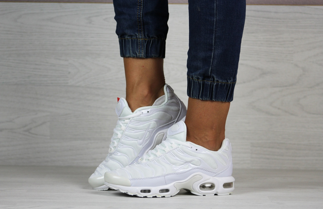 Кроссовки найк женские деми белые кожа нубук силиконовые вставки (реплика) Nike Air Max Tn White Leather
