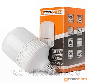 Лампа світлодіодна високопотужна ЕВРОСВЕТ 30Вт 6400К (VIS-30-E27)