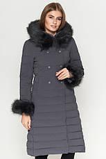 Удлиненная женская куртка Braggart Kiro Tokao на зиму с меховой опушки на молнии синяя размер 50 52 54 56 58, фото 2
